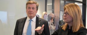 John Tory, Mayor of Toronto; Alison Gleeson, SVP, Americas, Cisco.