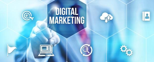 Interactive digital marketing channels illustration