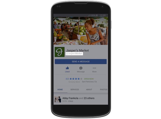 Facebook username feature