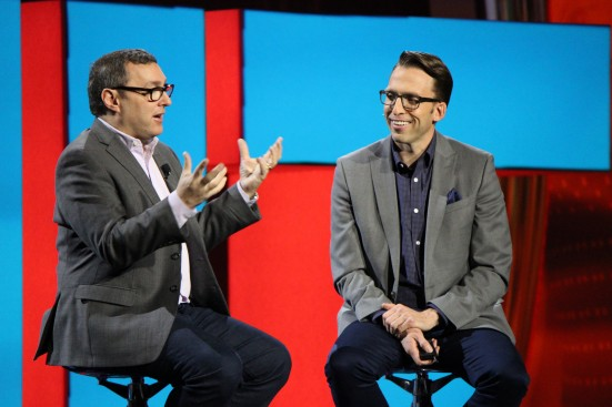 Walter Levitt, CMO of Comedy central, on stage with Brad Rencher, general manager of digital marketing, Adobe.