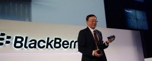 BlackBerry CEO John Chen during the Sept. 2014 launch of the company's Passport handset.