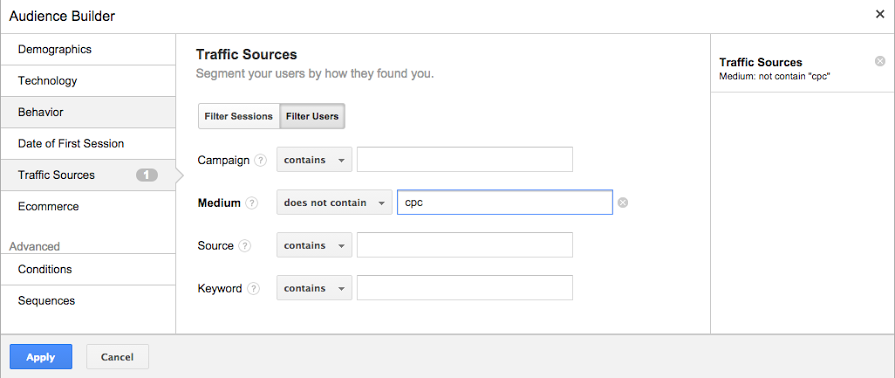 Analytics for AdWords 3 - Audience builder