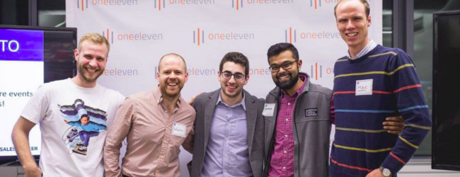 Hats off to SalesHacker TO host Kenny Goldman (center) with volunteers from left to right Michael Hofweller, Waylon McGill, Shubham Datta and Maxfield Materne. Image © Brian de Rivera Simon.