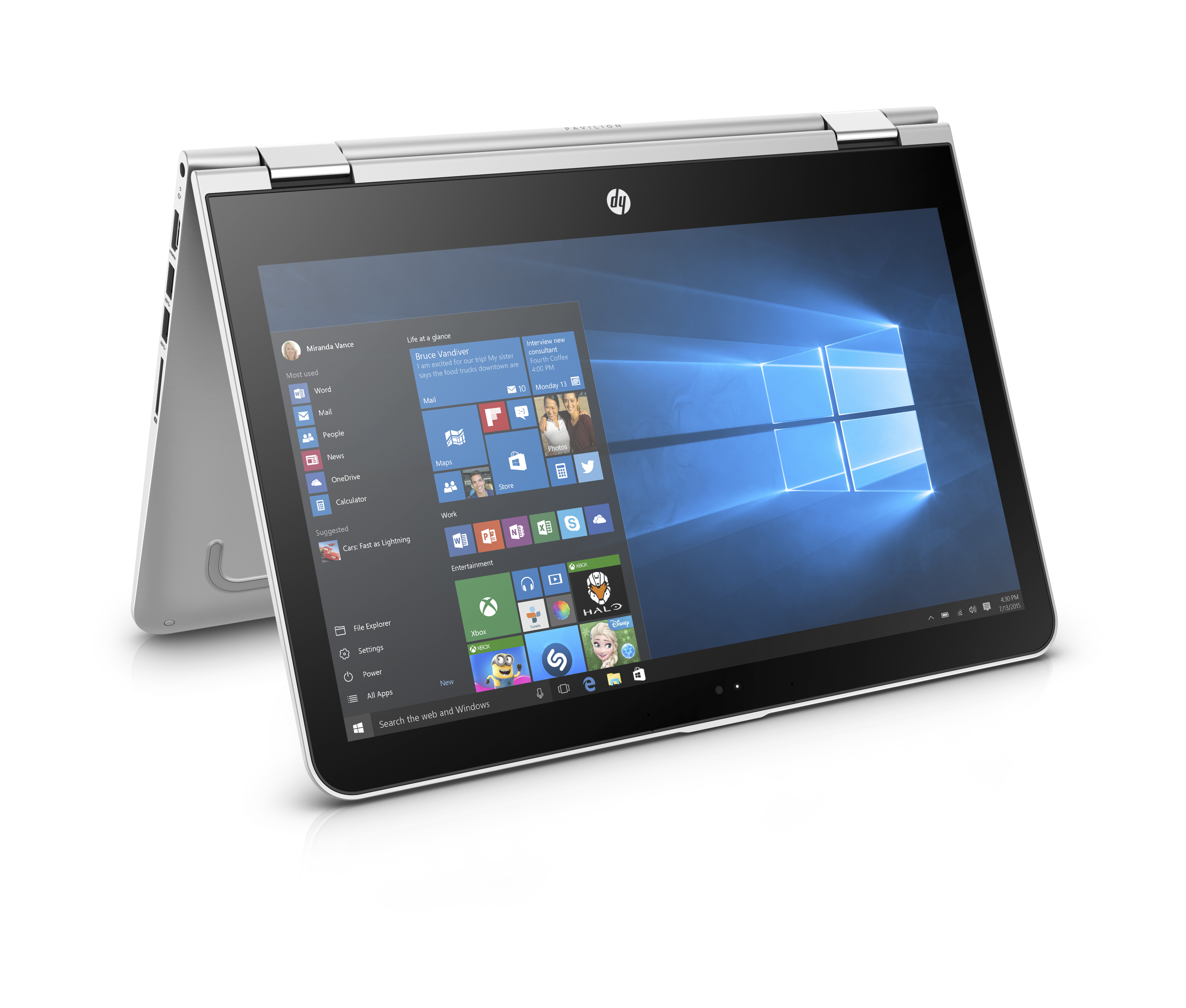 HP back to school slideshow 2 - HP Pavilion x360 13.3_Natural Silver_Entertainment Mode_Right Facing