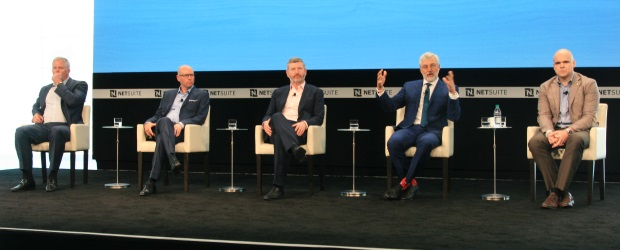 NetSuite CEO Zach Nelson (second from right) shared his candid opinion of rival Salesforce during a SuiteWorld Q&A on May 17.