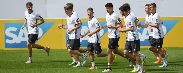 Thomas Muller leads the  players of the German National Football team at their training grounds preparing for European Football Championship 2016 in France