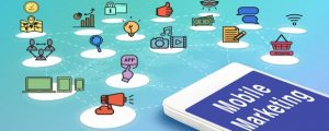 Mobile with mobile marketing and icons, Digital Marketing concept..