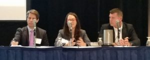 From left: Anaconda Mining Inc. CEO Dustin Angelo, SNC-Lavalin VP Nathalie Viens, and Schneider Electric Canada VP Martin Stephenson during a panel at the Industrial Internet of Things (IIoT), Big Data & M2M Summit on June 22. (Photo credit: Jennifer Rideout)
