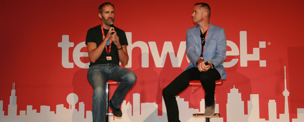 Twitter Canada's head of communications, Cam Gordon (L), speaks with moderator Alan Smithson during a July 28 session at TechWeek in Toronto.