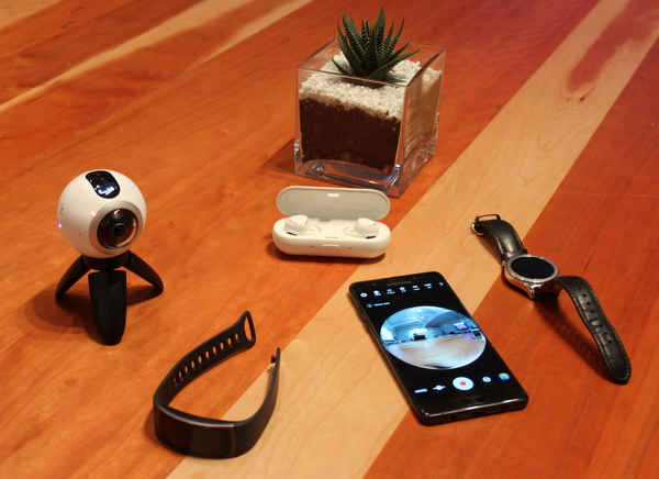 A bevy of accessories available to pair with the Note 7 include a 360-degree camera, wireless ear buds, and smart watches.