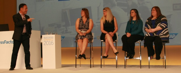 To demonstrate SAP's new feedback service, senior creative director Jon Leiberman invited (from left) customers Dorell Michalowski from Advocate Health Care, Kristi Johnston from AT&T, and Kimberly Ratliff and Jennifer Price from Carolinas HealthCare System to present their biggest complaints with the company's HCM platform.