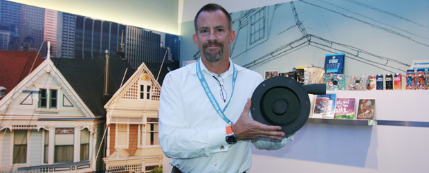 HP's global head of 3D materials and advanced applications, Tim Weber, shows off a component of the HP Jet Fusion 3D 3200… that was printed by the HP Jet Fusion 3D 3200.