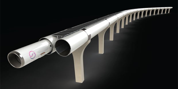TransPod's hyperloop track rendering. (Courtesy Transpod)