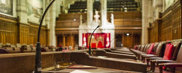 Close Up of Senator's Desk in the Canadian Senate