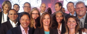 Hockey legend Cassie Campbell-Pascall centres the Dell EMC Canada team Anthony Martinello, Kevin Peesker, Tara Fine, Sabrina Locock, Michel Lagace and others at the Dell EMC Canada Channel Partner Summit in Niagara Falls