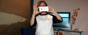 Google Canada's Nicole Bell uses the Pixel to shoot a photo of the author shooting a photo.