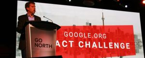 Google Canada managing director Sam Sebastian addresses the audience the company's inaugural startup conference, Go North, on Oct. 28.