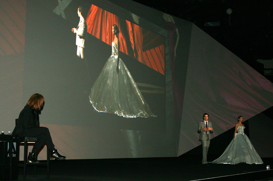 Fashion designer Zac Posen shows off the fibreoptic dress Claire Danes wore at the Met Gala in May during the Adobe Max conference on Nov. 3.