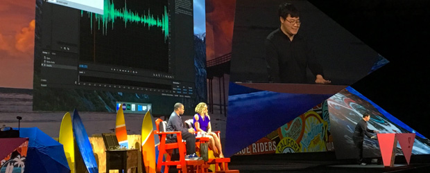 Adobe tech intern Zeyu Jin shows off his Adobe Sneaks pitch, Project VoCo, to Sneaks hosts Kimberley F. Chambers, a community engagement manager with Adobe, and comedian Jordan Peele. (Courtesy Adobe)