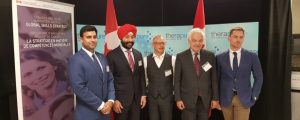 Left to Right - Mississauga-Streetsville MP Gagan Sikand, Minister Navdeep Bains, Nick Green, Minister John McCallum, Ben Bergen