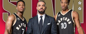 Drake (centre), along with Toronto Raptors players Kyle Lowry (left) and DeMar DeRozan (right) on the cover of Slam magazine, part of the rapper's Views preview video.